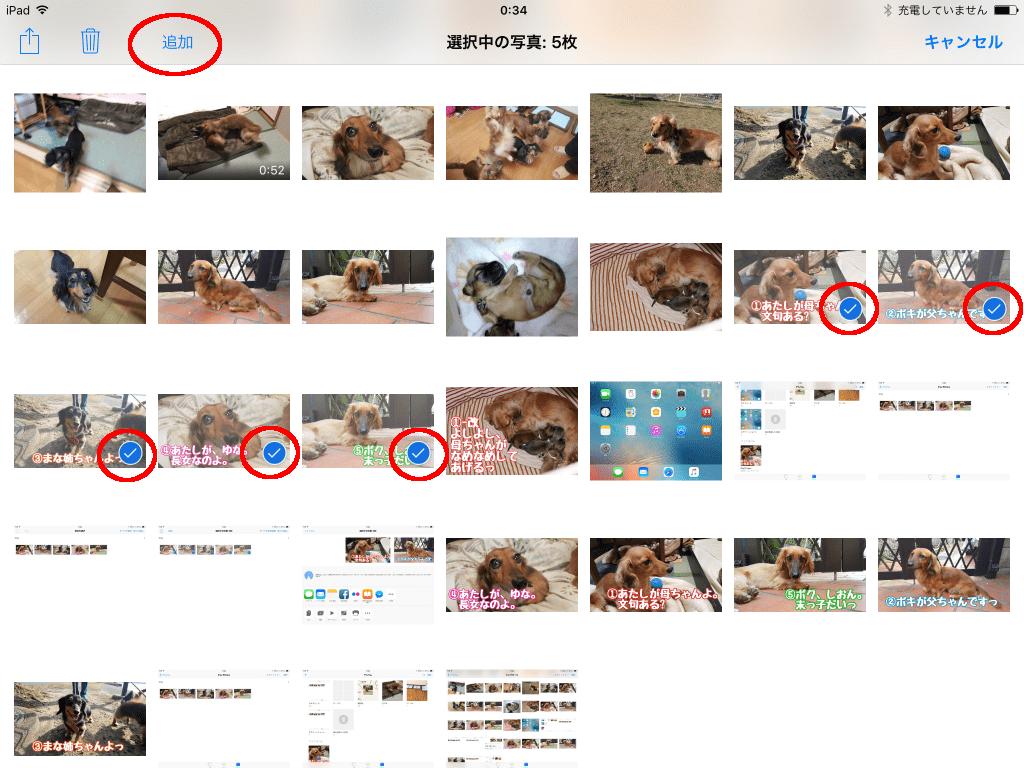 資料に使いたい写真を選択して「追加」