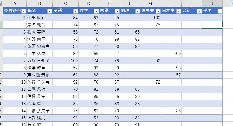 Excelの「テーブル」のサンプル