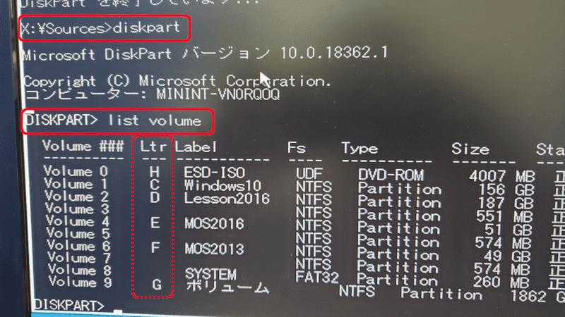 diskpartの操作方法 コマンドプロンプトで diskpart [Enter] DISKPART>のプロンプトで list volume[Enter] 出てきたリストの「Ltr」を控える exit [Enter]でDISKPART終了